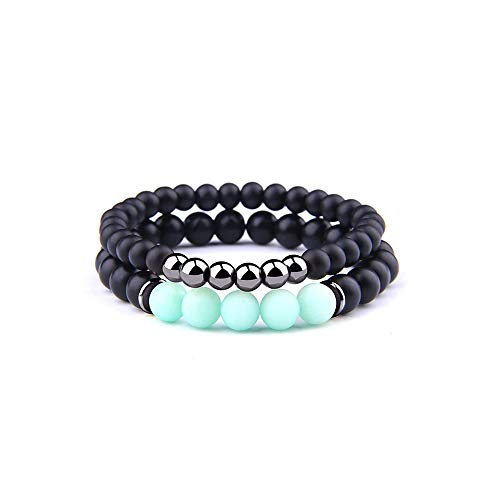 NDJqer 2Pcs Bracelet Men Natural Striped Agates Matte Black Onyx Beads Bracelet for Women&Mens ()