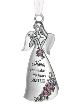 Ganz Silver Angel Ornament - Nana You Make My Heart Smile