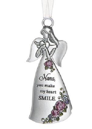(Ganz Silver Angel Ornament - Nana You Make My Heart Smile)