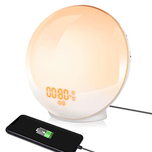 TITIROBA Wake-Up Light, Sunrise Simulation Alarm Clock, Sleep Aid Colored Bedside Light with FM Radio Dual Alarm Adjustable Lightness for Kids and Adults Bedroom