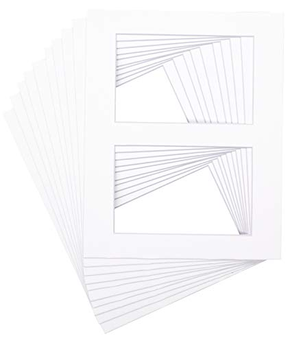 Golden State Art Pack of 10 - White Bevel Cut 8x10 Picture Mat for Two 4x6 Photo - Acid-Free with White Core Mats for Photographs, Prints, Artworks - Great for Graduations, Baby Showers, Frames
