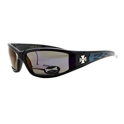 Choppers Sunglasses Motorcycle Biker Shades Black/ Blue Flame Reflective Lens