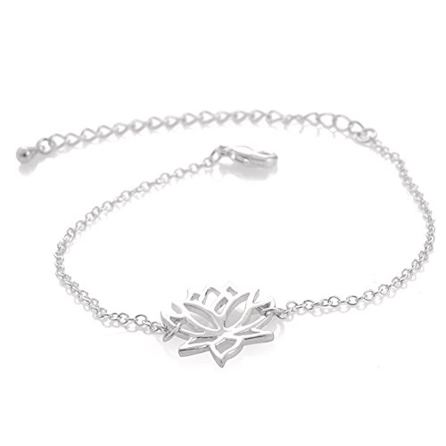 choice of all Gold Silver Lotus Flower Pendant Necklace for Women Lotus Jewelry for Mothers Gifts (G:Sliver Bracelet) ()