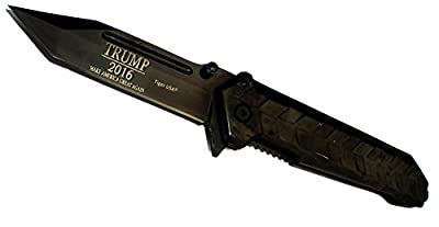 """9"""" BLACK OUT HEAVY DUTY Tanto Blade TRUMP 2016 Commemorative Limited Edition Pocket Knife It's AMAZING!"""