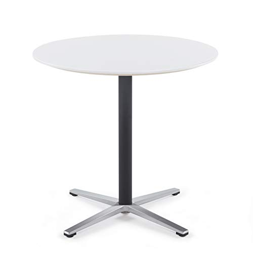 (Sunon Round Bistro Table Small Round Table with X-Style Pedestal for Pub Table/Cafe Table/Office Table/Conference Table (Moon White,29.5-Inch Height))