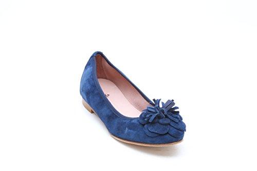 Scarpe italiane ballerine in camoscio blu