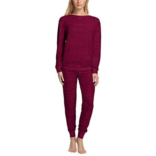 (Women's V-Notch Crew Neck & Jogger Lounge Pajama Set (Dark Beet Red, X-Large) )
