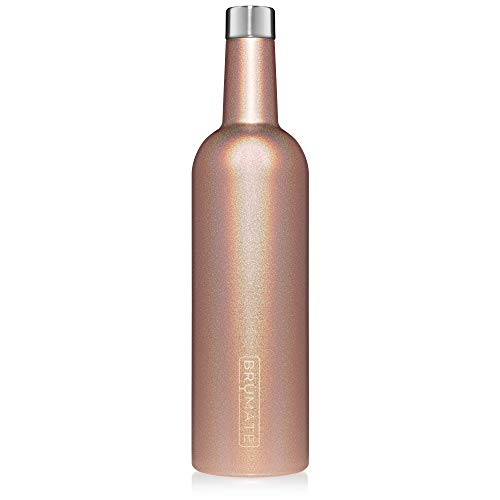 BrüMate Winesulator 25 Oz Triple-Walled Insulated Wine Canteen Made Of Stainless Steel, 24-hour Temperature Retention, Shatterproof, Comes With Silicone Funnel (Glitter Rose Gold)