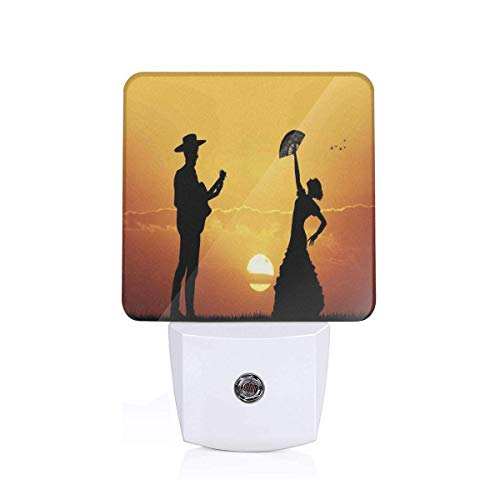 Colorful Plug in Night,Flamenco Couple Dancer and Guitarist Silhouettes at Sunset Scenery,Auto Sensor LED Dusk to Dawn Night Light Plug in Indoor for Childs Adults