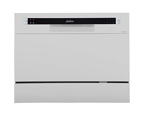 Sunbeam DWSB3602GSS Compact Countertop Dishwasher with Six Different Washing Cycles, Delay Start, Rinse Aid Dispenser, Silver