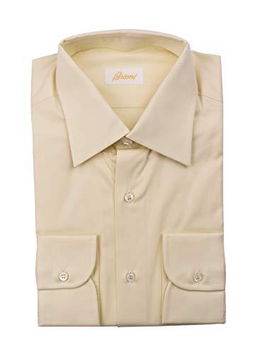 (Brioni Mens Cotton Pale Yellow Button Down Dress Shirt Size EU40/US15.75~RTL$700)