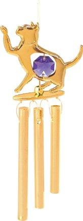 24K Gold Plated Wind Chime Sun Catcher or Ornament….. Cat With Purple Swarovski Austrian Crystal Review
