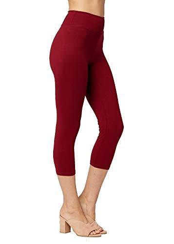 Conceited Super Soft High Waisted Leggings for Women - Capri Burgundy - Small/Medium (0-10) (Leggings Tights Red)