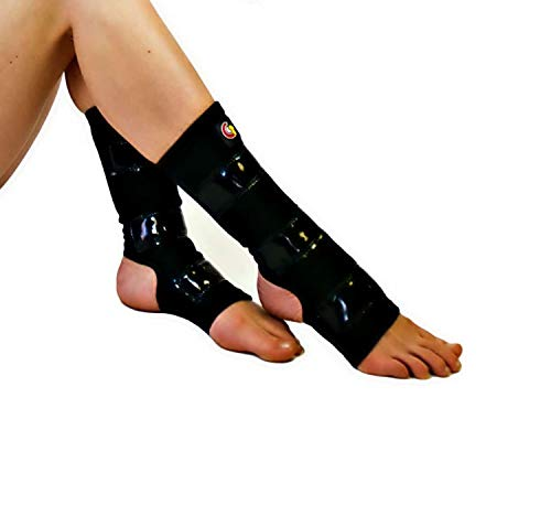 Mighty Grip Black Pole Dancing Ankle Protectors with Tack Strips for Gripping The Pole (X-Large)