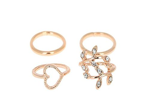 Set of 4 Leaf Heart Joint Knuckle Nail Ring Band Gold/Silver Plated Row Chain Top Finger Midi Finger Ring (Gold)