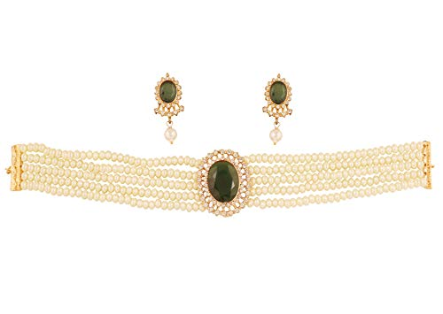 Emerald Diamond Pearl - Touchstone New Indian Bollywood Desire Fine Studded Diamond Look White Rhinestone Faux Emerald Pearls Designer Jewelry Choker Necklace in Gold Tone for Women.