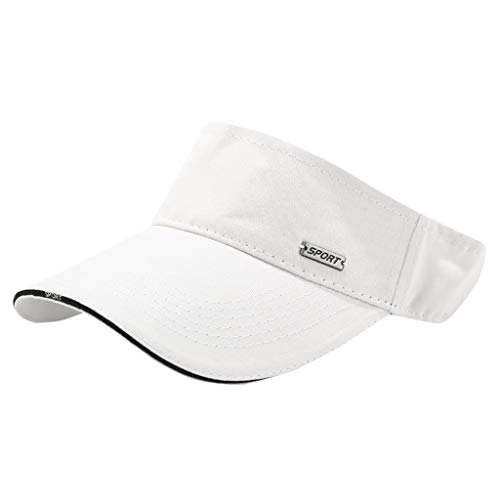 46b1f8ee Ganenn Sun Visor Cap, Unisex Men Women Cotton Adjustable Outdoor Sport Sun  Visor Golf Hat for Running Tennis Jogging (White)