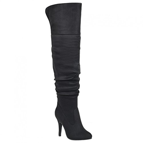 Forever Link Focus-33 36 Women's Fashion Stylish Pull On Over Knee High Sexy Boots,Black (Heel Knee Sexy Shoe)