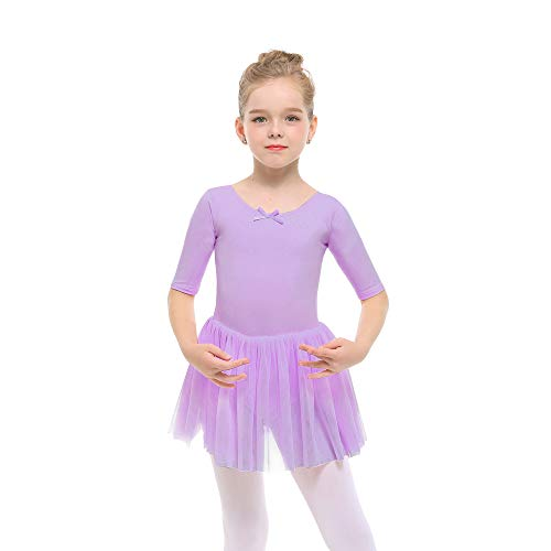 STELLE Toddler/Girls Cute Tutu Dress Leotard for Dance, Gymnastics and Ballet (S, Purple)