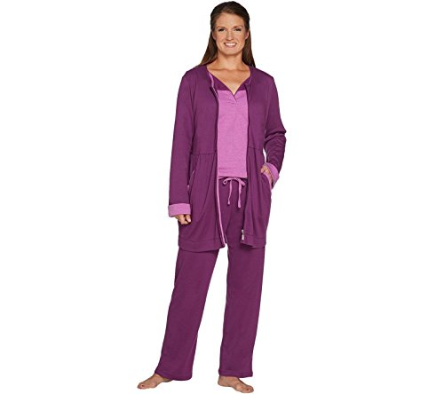 Carole Hochman Interlock 3-Piece Cardigan Top Pant Lounge Set Plum M New A294072 (Cardigan Carole Hochman)