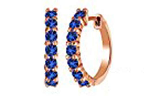 - 14k Rose Gold Over Sterling Silver Round Cut September BirthStone Blue Sapphire Hoop Earrings (0.64