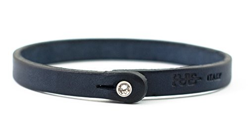Genuine Italian Leather Bracelet with Swarovski Crystal Closure | Multiple Colors Available | Handcrafted in Italy (Te Color) from Tulsi