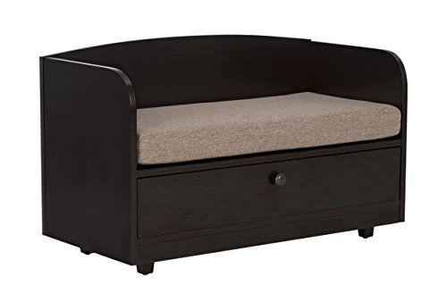 Paws & Purrs Pet Bed with Storage Drawer, Espresso/Sand