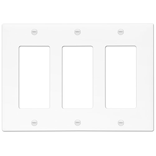 Enerlites 8833-W Decorator Light Switch/Receptacle Outlet Wall Plate, Polycarbonate Thermoplastic, Standard/3 Gang, White