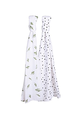 Bebe au Lait Oh So Soft Muslin Swaddle Blanket Set, Saguaro