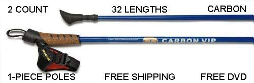 Nordic Walking Carbon VIP Poles Are Safer, Lighter, Stronger, More Durable Than Flimsy Collapsible Poles! Don't Get Scammed By 2 or 3-piece Poles From China. LifeTime Warrenty. Free DVD.