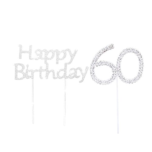 MonkeyJack Crystal Happy Brithday + 60th Cake Toppers Bday Anniversary Cake Decor