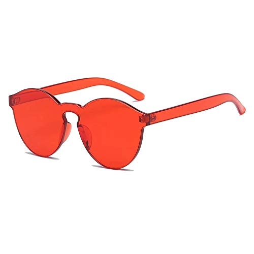 (Kingleachy Colorful Reflective Rimless Sunglasses Fashion Vintage Eyewear for Unisex/Red)
