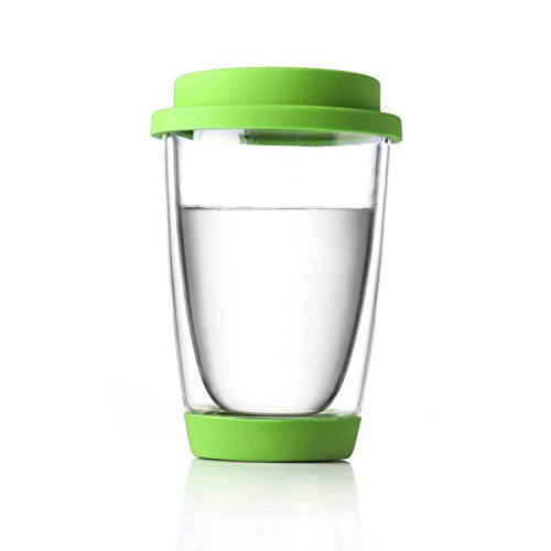 Double Walled Glass (350 Milliliter 12 Ounce, Set of 1) Tea and Coffee Mug with Slicone Bottom and Lid Tea Cup Personalised Handmade Gift Set For Coffee Machine Suitable For Espresso Latte Cappuccino Macchiato Hot Chocolate Milk Hot and Cold Beverage Drinks Transparent Dishwasher Safe - Memory Unihom (Green)