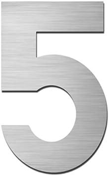 Hausnummer::5 MOCAVI HS10 Hausnummer Edelstahl V4A selbstklebend H/öhe 5,5-7,5 cm Edelstahl-Haust/ürnummer modern