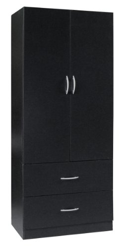 Home Source Industries RL12224 Wardrobe with 2-Door and 2-Drawer, Black
