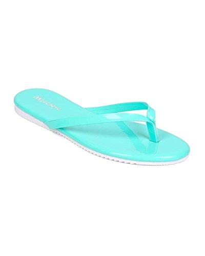 Missköter Eh28 Kvinnor Patent Läder Rem Sandal Mint