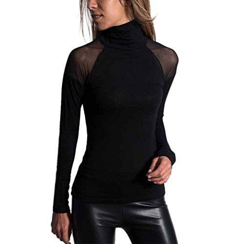 (TWGONE Turtle Neck Top For Women Black Solid Color Shirt Long-Sleeved Mesh High-Neck T-Shirt Blouse(Large,Black))