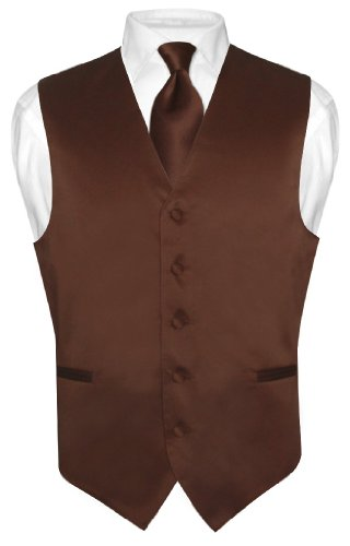 Men's Dress Vest & NeckTie Solid CHOCOLATE BROWN Color Neck Tie