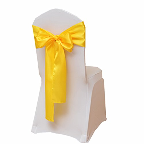 (Fvstar 25pcs Yellow Satin Wedding Chair Sashes Bows Party Chair Ribbons Chairs Cover Tie Bands for Bridal Events Supplies Baby Shower Christmas New Year Decorations Without White Covers)