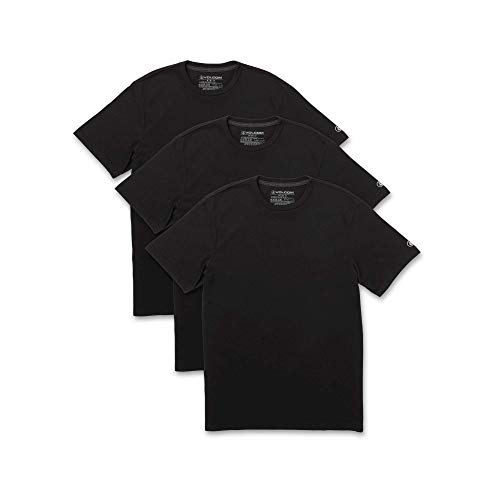(Volcom Men's 3-Pack Solid Basic Short Sleeve Tees Black)