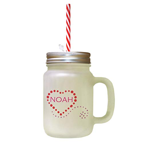 Personalized Custom Characters Noah Heart Frosted Glass Mason Jar With Straw from Style In Print