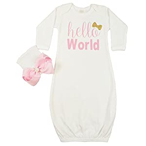 Posh Peanut Hello World Infant Baby Gown Layette Soft Sleeper Newborn Girl's Soft Beanie Girl Outfit White Gold