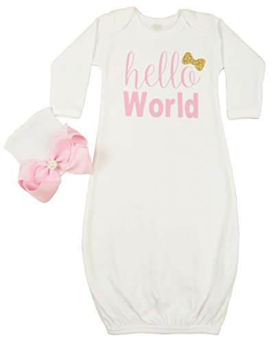 PoshPeanut Infant Gown Hello World Layette Soft Sleeper with Newborn Girl's Soft Infant Beanie Baby Girl Outfit - Posh Baby Girl