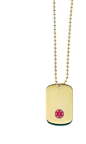 Gold ION Medical Alert ID Dog Tag Necklace, My Pet Supplies