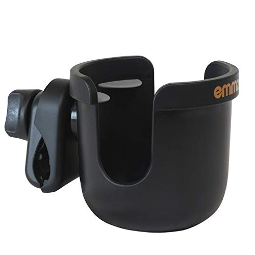 Emmzoe Universal Fit Stroller Cup Holder - Drink Stabilizer, Anti-Slip Clamp and 360 Degree Rotation