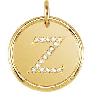 Jambs Jewelry 18K Yellow Vermeil .08 CTW Diamond Initial Z Pendant - Platinum Vermeil Pendant Diamond