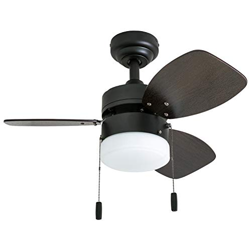"ns 50602-01 Ocean Breeze Contemporary, 30"" LED Frosted Light, Light Oak/Satin Nickel Finish Blades, Gilded Espresso ()"