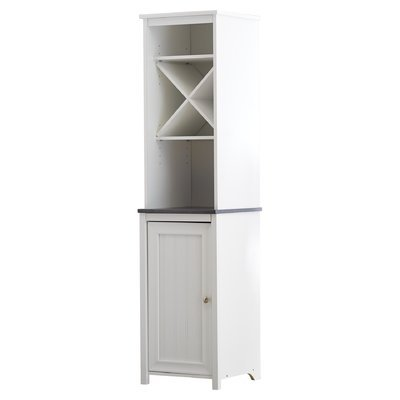 Charming Free Standing Linen Tower, Adjustable Shelf Behind Door, Modern Design X Shelving, 5 Open Adjustable Shelves for Ample Storage and Display Space, Sturdy Wood Construction, White Finish