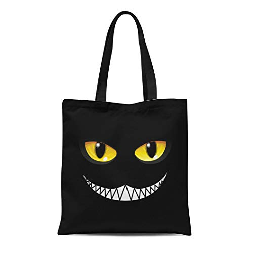 (Semtomn Canvas Bag Resuable Tote Grocery Adorable Shopping Portablebags Yellow Wonderland Black Cat in Glow Eyes Alice Cheshire Natural 14 x 16 Inches Canvas Cloth Tote)