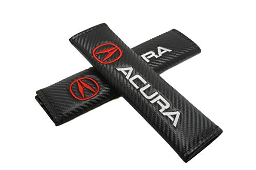 2PCS Carbon Fiber Look Embroidery Logo Red ACURA Seat Belt Cover Shoulder Pads